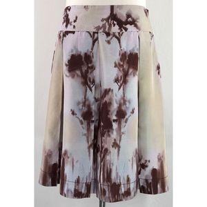Silk Abstract Tie Dye Box Pleat Side Zip Skirt